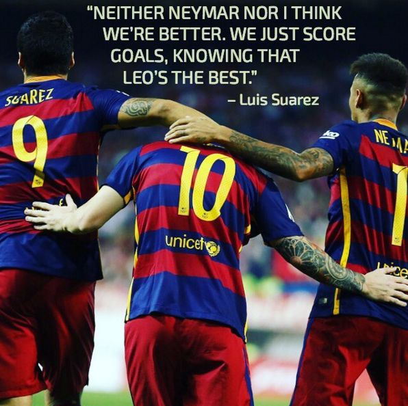 #SoccerQuotes #soccer Luis Suarez and Neymar know who's the best #barcelonaFC