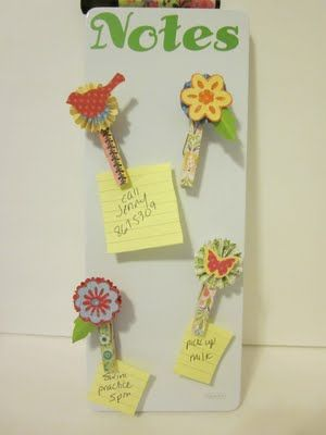 Magnetic Note Clips made of #Cricut Paper Images