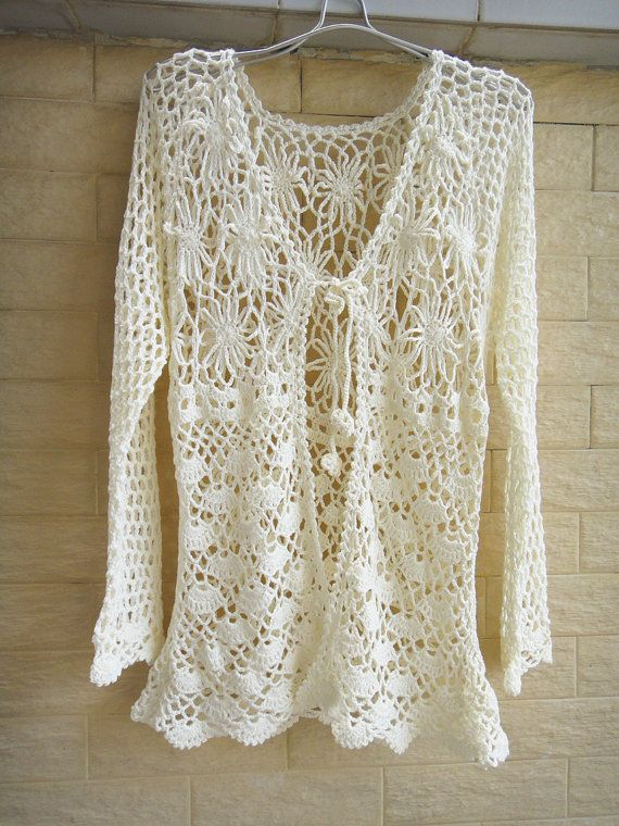 Tie Front Crochet Cardigan Long Sleeve Women By