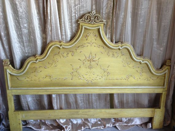 Ornate Carved King Vintage French Provincial Headboard On