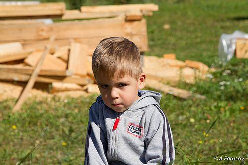 Sad village boy