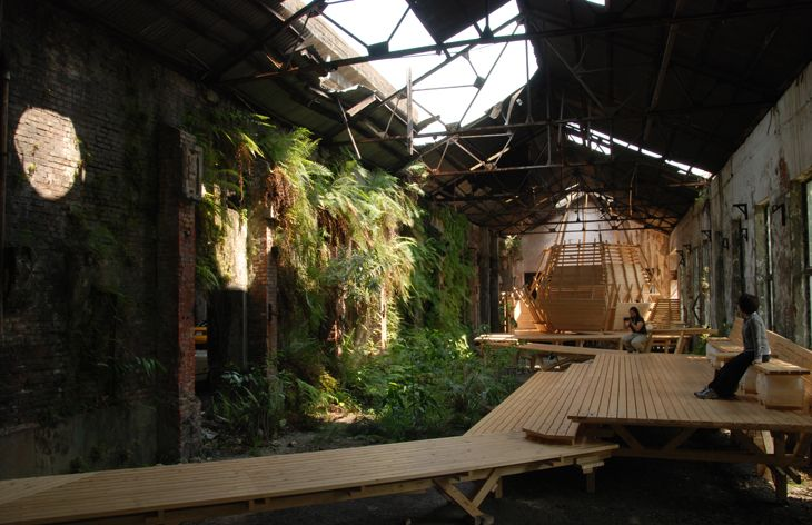 The abandoned Shihlin paper factory returning to the earth - Taiwanese architects Interbreeding Field preserve its deterioration while introducing a new exhibition space and cafe along boardwalks that is reminiscent of the wetlands.