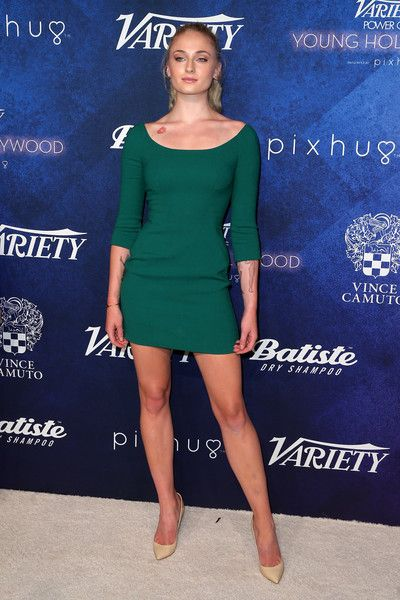 Sophie Turner Mini Dress - Sophie Turner went for simple sophistication in a green scoopneck mini dress by Dolce & Gabbana for her Variety Power of Young Hollywood look.