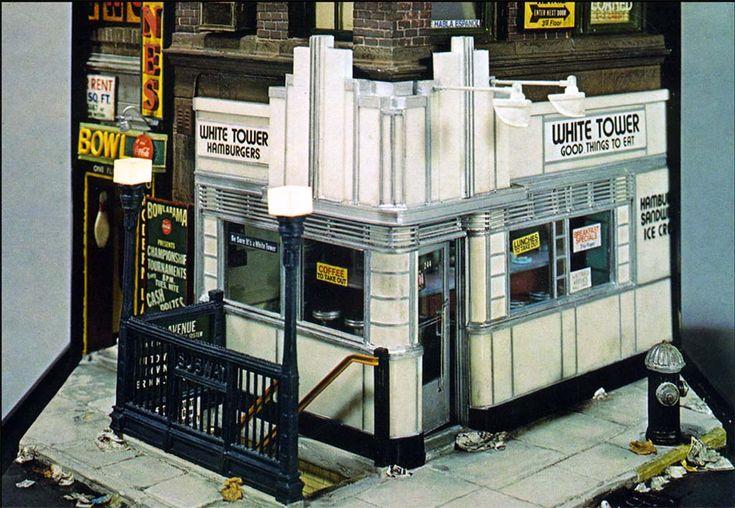 """""""WHITE TOWER HAMBURGERS"""" (1984) 14 x 13 3/4 x 16 1/4 inches"""