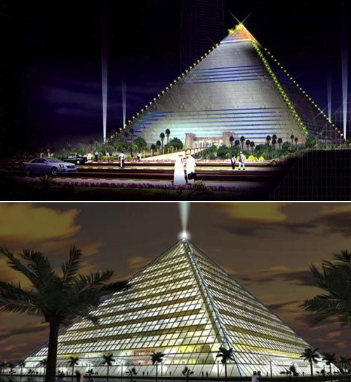 'dubai grand pyramid' obviously derives its form from the ...