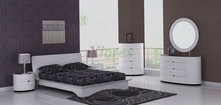 Eri All White Modern Bedroom Furniture Sets Canada | Xiorex Eri all white bedroom collections are modern bed sets with platform beds, stylish concave headboards, and beautifully designed deep rounded corners on the chest, dresser, and nightstands.