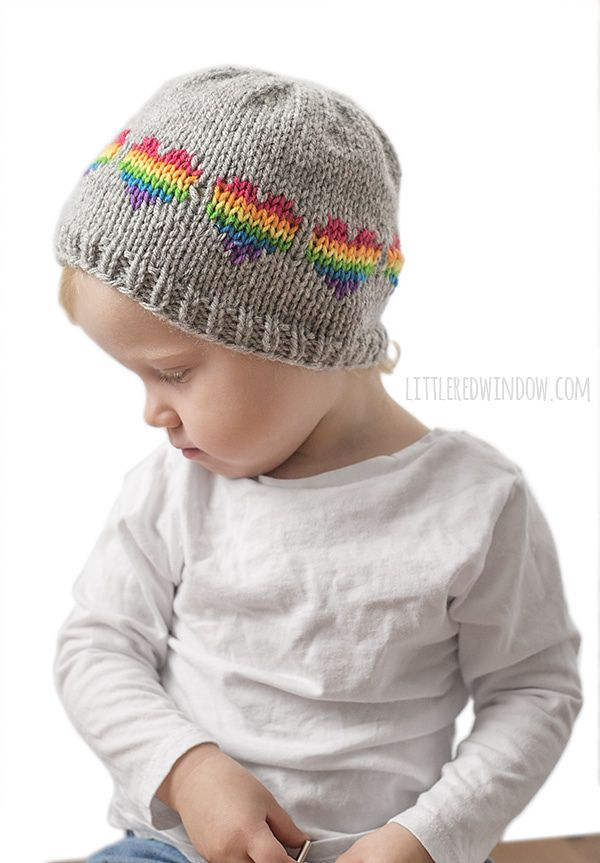 7fa6462dfe3 Ravelry  Rainbow Heart Hat pattern by Cassandra May