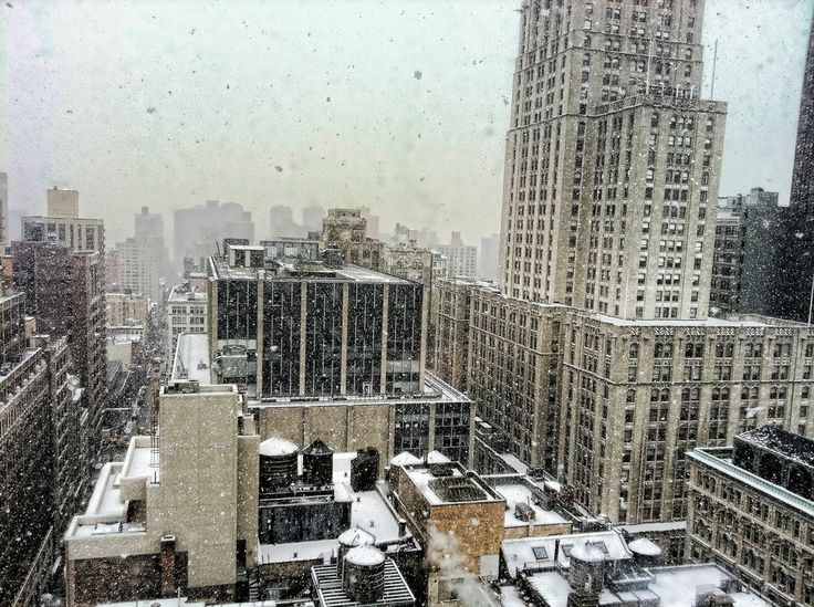 https://flic.kr/p/9d6DjJ | Manhattan - snowing - aerial view from Happy Cog | The view out my studio windows fills me with the romance of the urban landscape (and makes it hard to work).