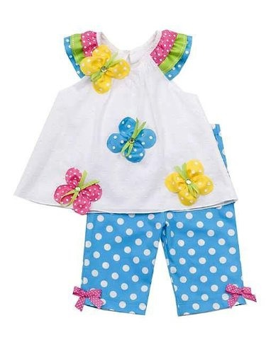 Amazon.com: Rare Editions Toddler Girls 2T-4T Butterfly Applique Capri set, White/Turquoise: Clothing