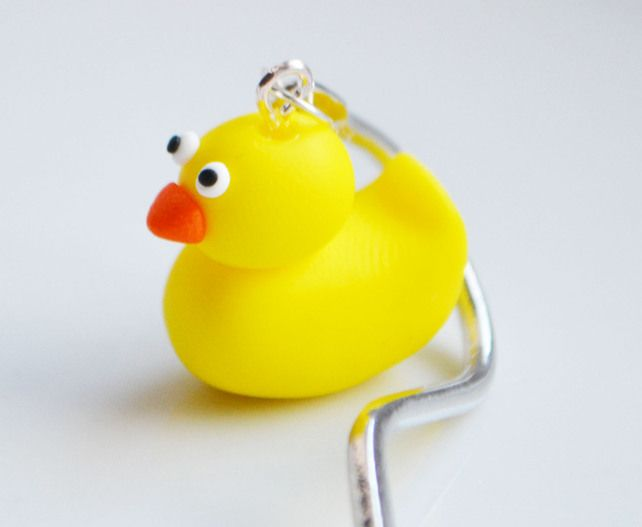 Rubber Duck Bookmark, Fimo, Polymer Clay, Cute, Animal, Miniature