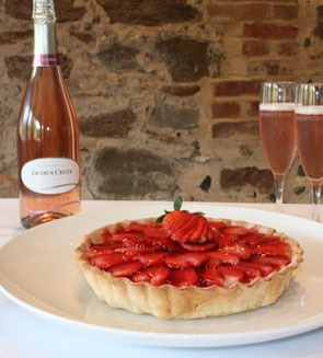 Strawberry Flan w/ Moscato Rosé