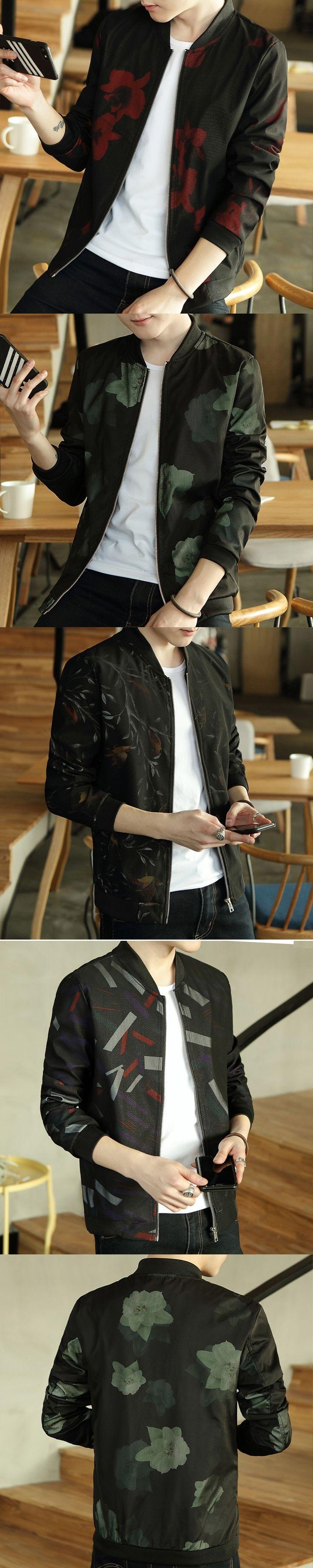 2017 Gold Printing Jacket Mens Luxury Baroque Bomber Jackets Mens Slim Fit 5XL Mens Clothing Club Outfits Royal Men Short Jacket