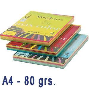 Papel de colores en colores surtidos, válido para todo tipo de impresiones.  Paquete de 200 hojas A4 de 80 gramos.  TONOS FLUORESCENTES