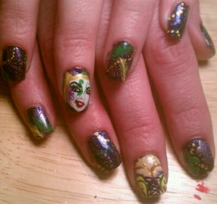 45 best Mardi Gras Nail Art images on Pinterest | Art nails, Fat and ...