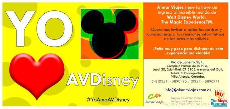 #YoAmoAVDisney  Almar Viajes tiene la llave de ingreso al increíble mundo de Walt Disney World: The Magic ExperienceTM y Disney en Familia.  Queremos invitar a todos los padres y quinceañeras a las reuniones informativas de las próximas salidas.  ¡Falta muy poco para disfrutar de esta experiencia inolvidable!  [Blog de Contacto]: > http://almarviajes.wordpress.com/contactenos/ <  Equipo de Almar Viajes,  Amigos de Experiencias.  EVyT - LEG 15220 - RESO 1040 / 2012