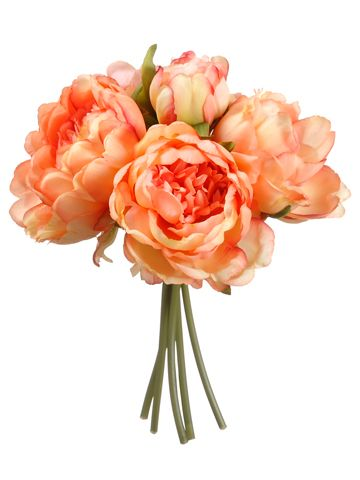 Peach Coral Peony Bouquet | Artificial Wedding Flowers | Afloral.com