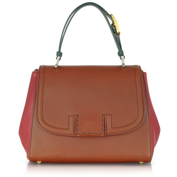 Fendi Colorblock Silvana Leather Satchel ($1,150) ❤ liked on Polyvore featuring bags, handbags, brown, brown leather satchel, fendi handbags, brown handbags, brown leather handbags and brown satchel handbag
