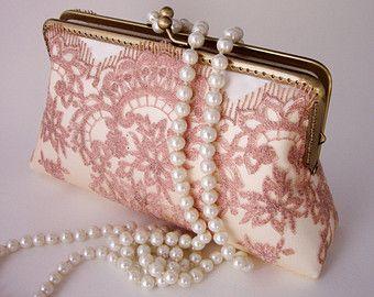 Vintage geïnspireerde bruids toebehoren / rose gouden bruiloft Lace clutch tas met handvat ketens / bruidsmeisje cadeau /Bridal partij