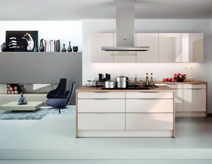 Hochglanz-Inselküche mit Echtglas-Fronten Inselküchen Pinterest - schüller küchen fronten