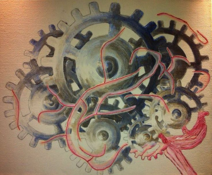 PAINTING - I made a painting about the contrast between the natural and technological. The gears form the brains. From the trunk of the brains, the natural brain grows up. - www.madebysusan.com
