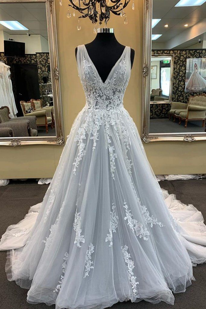 Gray Tulle V Neck Long Lace Up Sweep Train Evening Dress, Prom Dress With Applique