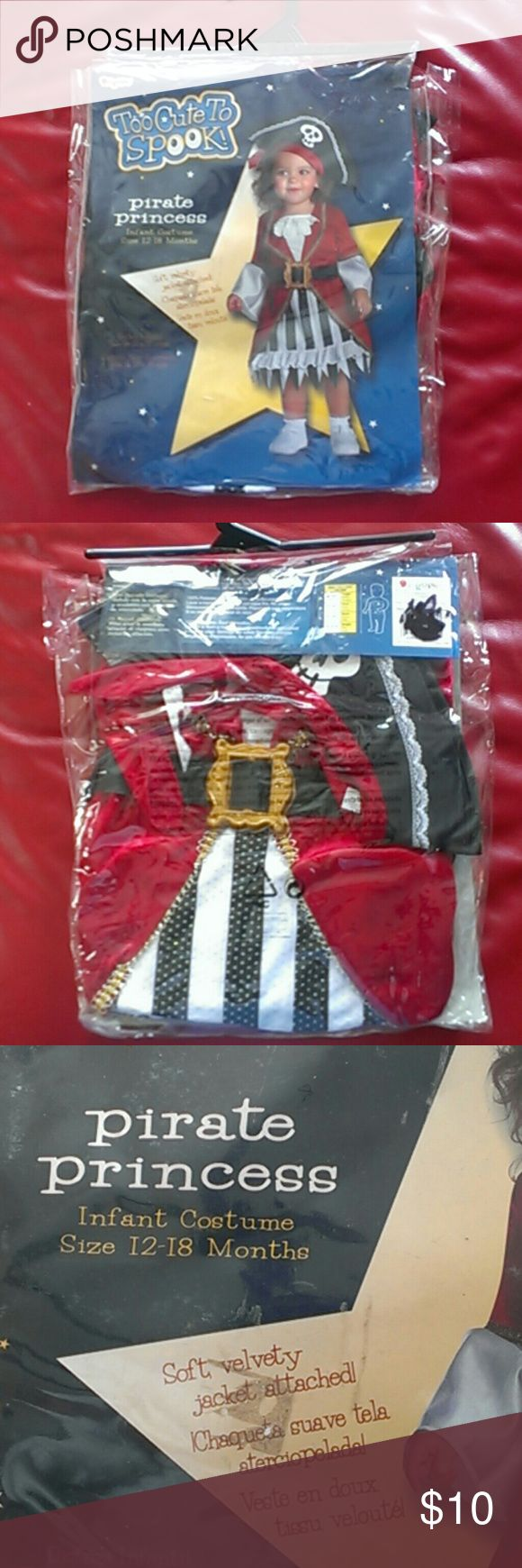 Costume Pirate Princess Costume Pirate Princess, infant costume size 12-18 months, soft velvety jacket attached, veste en doux, colors red, white, black,brand new Pirate Princess Costumes Halloween
