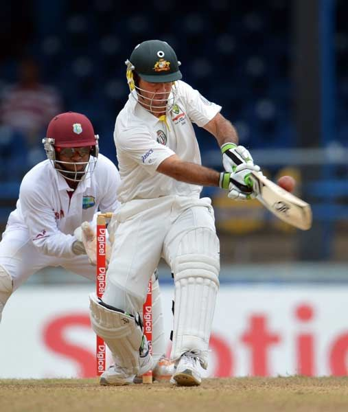 Australian batsmen Ricky Ponting plays a shot during the fourth day of the second-of-three Test matches between Australia and West Indies April 18, 2012 at Queen's Park Oval in Port of Spain, Trinidad.