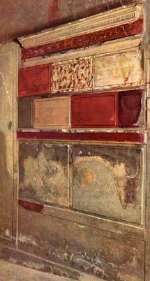 Pompeiian 1st Style Painting: sections of the walls were finished to resemble real masonry blocks and painted in solid blocks of color to emulate the style of old Hellenistic palaces in Greece. The 1st style is the oldest and often found in older Samnite homes in Pompeii and Herculaneum.