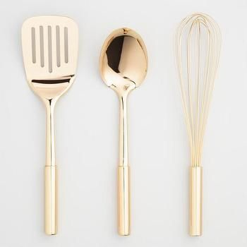 World Market Gold Spatula, Spoon and Whisk