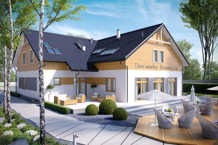 Projekt budynku gastronomicznego K-58 B z zapleczem noclegowym i mieszkaniem właściciela, pełniący funkcję domu weselnego lub restauracji. Może również pełnić funkcję pensjonatu, motelu lub zajazdu.