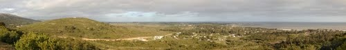 East view from Cerro San Antonio - panoramic view (Stitched panorama).  Piriapolis, Uruguay.
