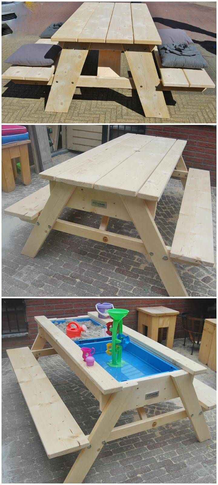 Diy Picnic Table Into Sand And Water Fun Table Kids Picnic Table Picnic Table Plans Toddler Picnic Table