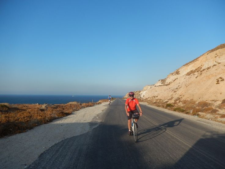 Don of New Jersey cycling back from the Apollonas kouros quarry to Chora harbor town.