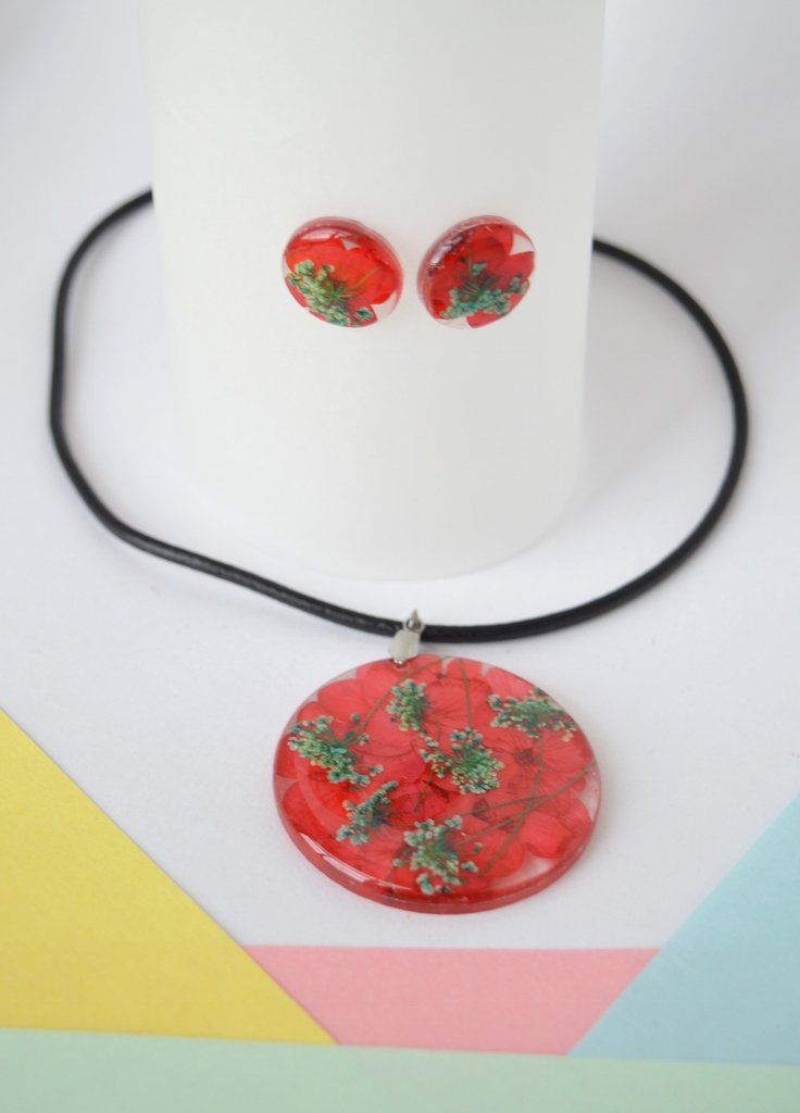 Necklace Set Cherry red-Floresse