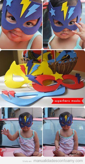 Máscaras y antifaces de superhéroes para niños hechos con goma eva. vma.
