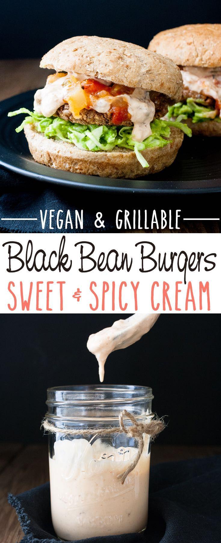 Easy Grillable Sweet and Spicy Vegan Black Bean Burgers with Mango Habanero Cream | www.veggiesdontbite.com |