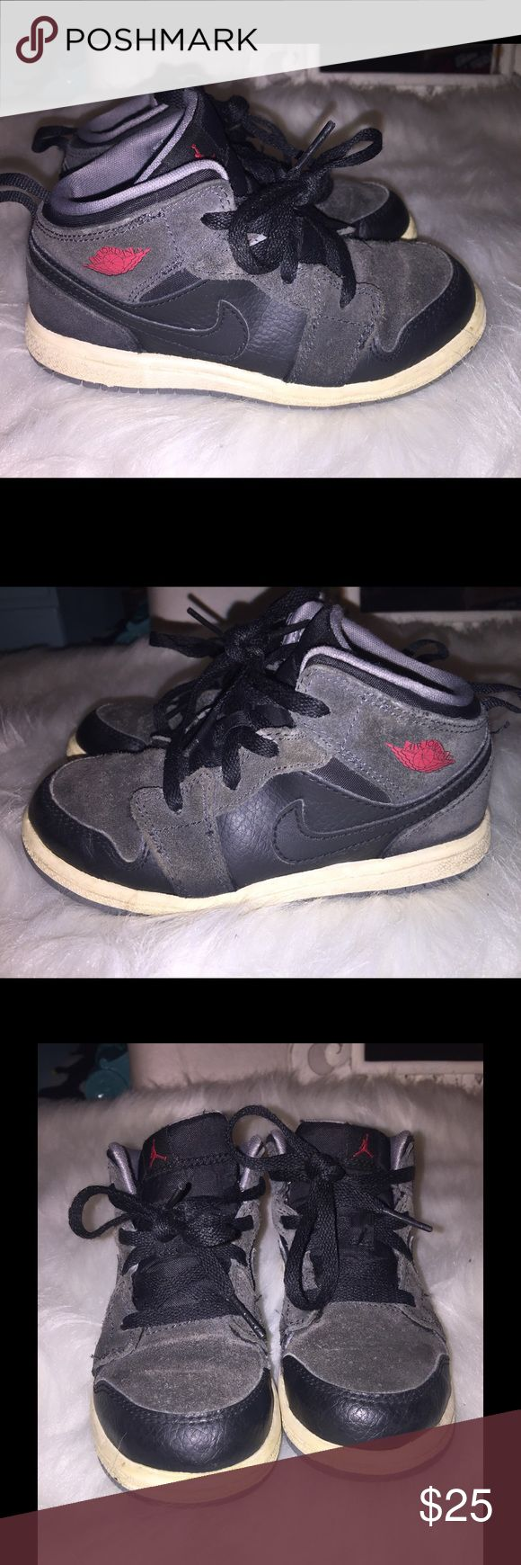 Boys Nike Air Jordan's Low Hightop Sneakers Sz 10c AS IS- Boys Nike Air Jordan's Low Hightop Sneaker Shoes Sz 10c! Only problem is the outer sole discolor and some fade on the Grey Suede, but not bad! Nike Shoes Sneakers