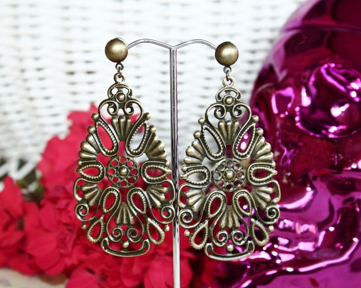 Boho Mexican Bronze Bridal Earrings by BleakDesigns on Etsy