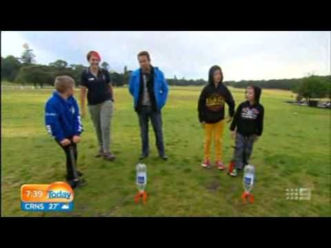 Water rockets on the Channel Nine's Today show for Science in the Swamp at Centennial Parklands by Fizzics Education. #fizzics #scicomm #scied #kids #education www.fizzicseducation.com.au