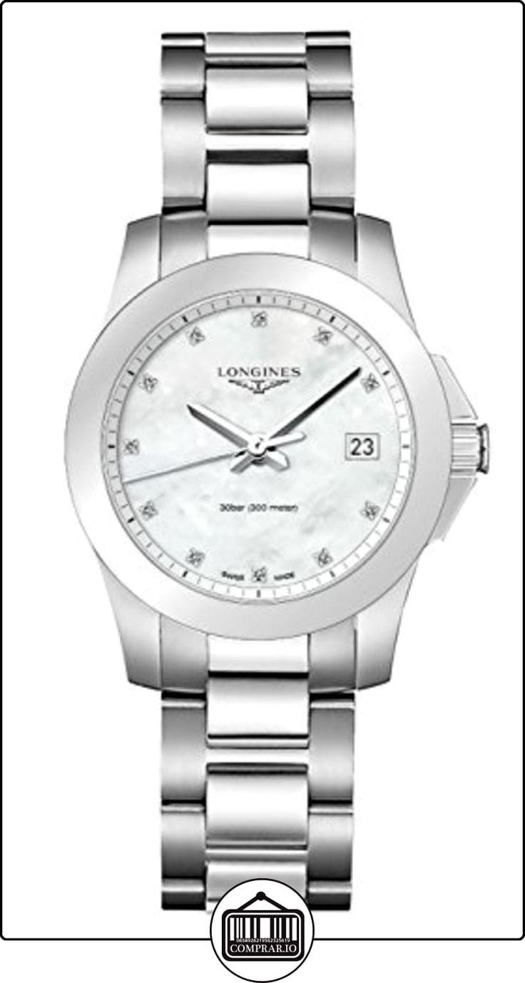 Longines Mujer Swiss Conquest Diamond Accent pulsera de acero inoxidable reloj de 34mm l33774876  ✿ Relojes para mujer - (Lujo) ✿