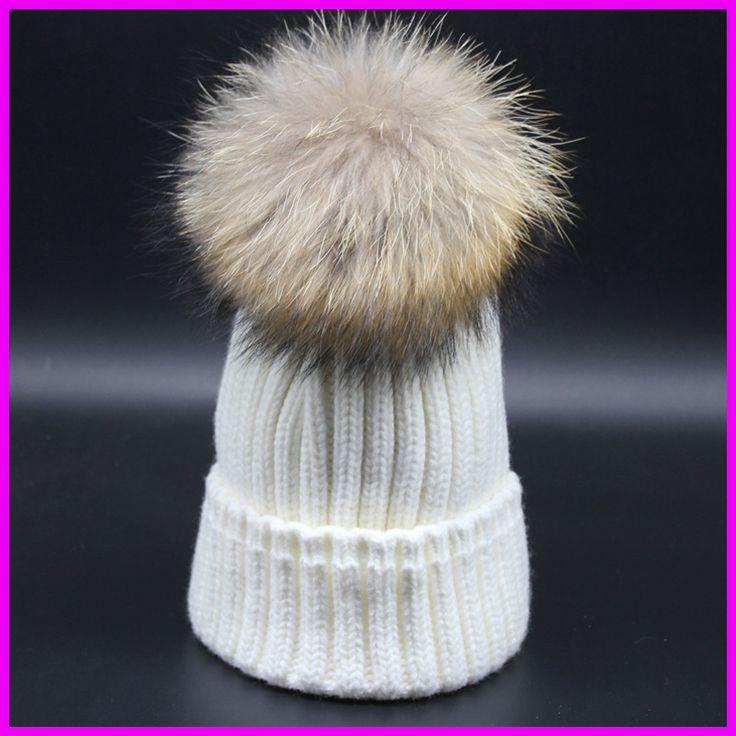 2016 Fashion Winter Warm Thick Hats For Women Real Raccoon 18cm Fur pompom Beanies gorras de mujer Cap