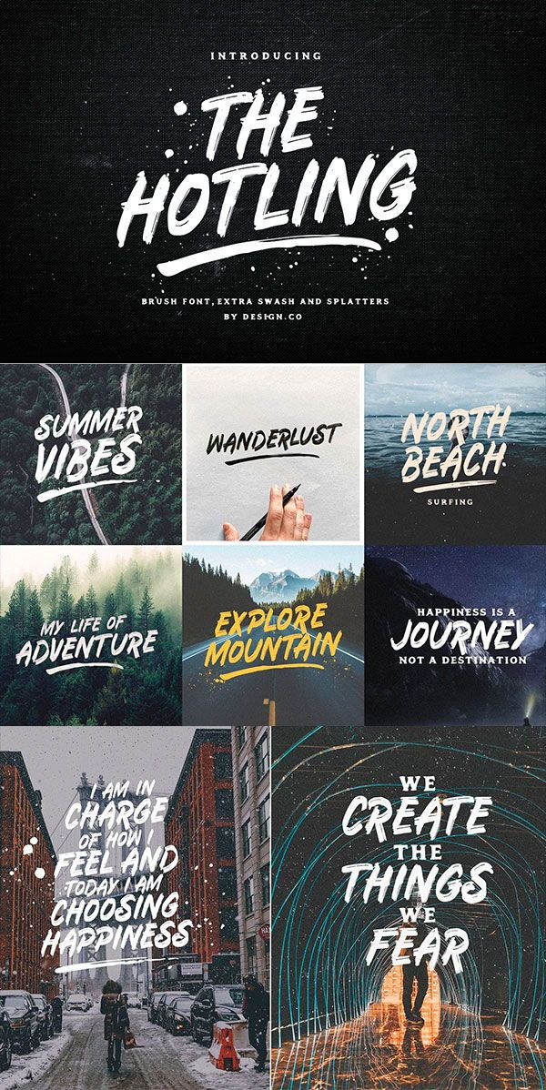 The Hotling Brush Font (Extras)  Great for logos, clothing, quotes