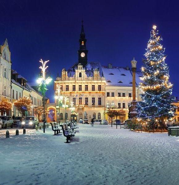 Česká Lípa (North Bohemia), Czechia - Christmas decoration of Škroupś square…