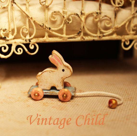 Vintage child - pull toy rabbit, dollhouse miniatures, scale 1.12 Susanne Idun Mørch by Petit Brocante, 2014