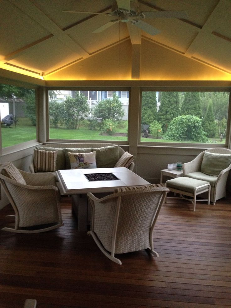 Screened In Porch With Up Lighting And Sunset Bay Outdoor