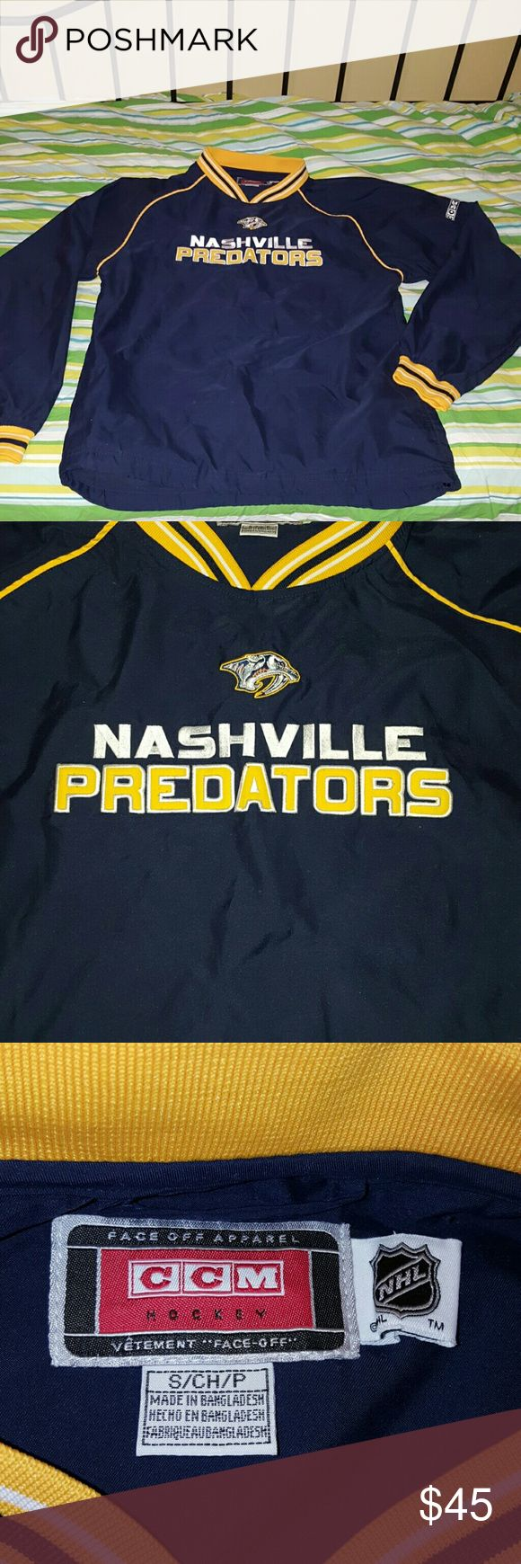 Nashville Predators Windbreaker EUC Official NHL Nashville Predators Windbreaker that is an adult small. Bought at a Predators game. It goes perfect over a long sleeve shirt, has pockets, and can be cinched up. Must have if your a Preds Fan! Jackets & Coats