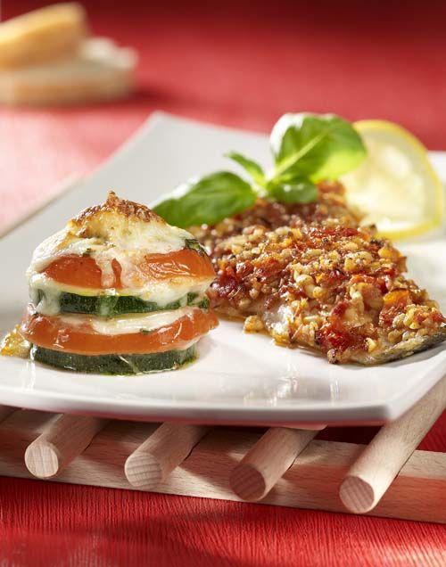 Zeebaars met crumble en groentetorentje