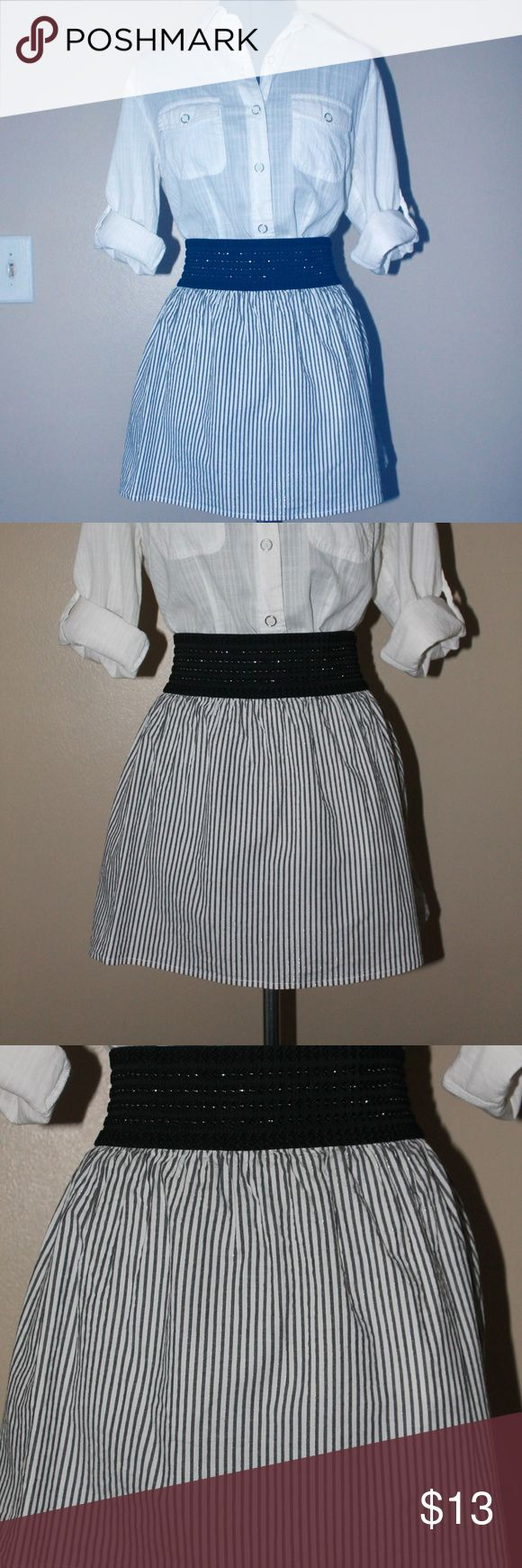 Heart Soul black and White mini skirt Heart and Soul brand white and black striped mini skirt with silver details and elastic waistband Heart Soul Skirts Mini