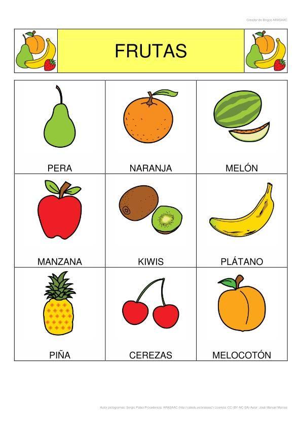 Bingo de las frutas