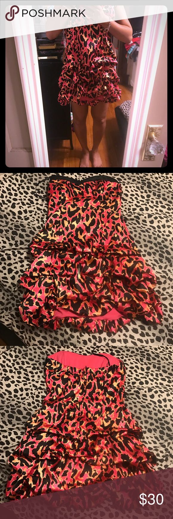 Leopard party dress Pink leopard party dress. Worn once for my birthday. Super cute and makes a statement size 9 Deb Dresses Mini